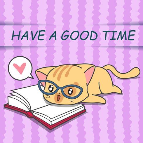 Nette Katze liest ein Buch in der Karikaturart. vektor