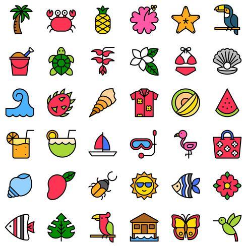 Tropisk relaterad vektor ikonuppsättning, fylld stil