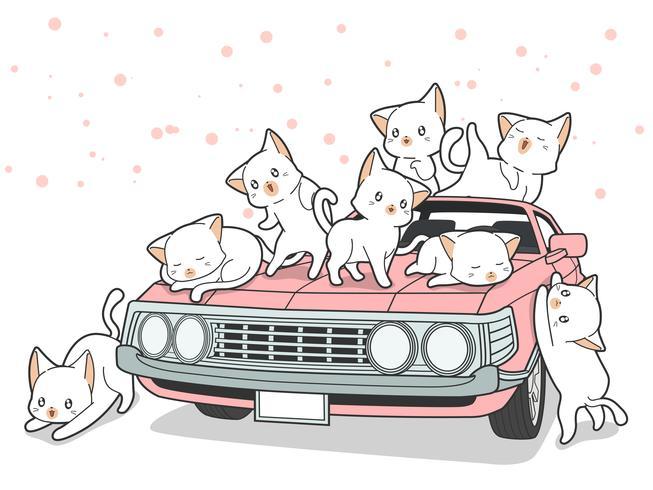 Dragit kawaii katter och rosa bil i tecknad stil. vektor