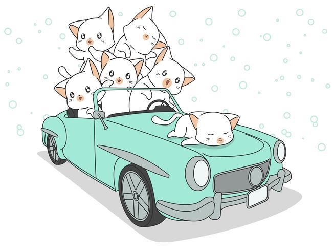 Drawn kawaii katter i blå bil. vektor