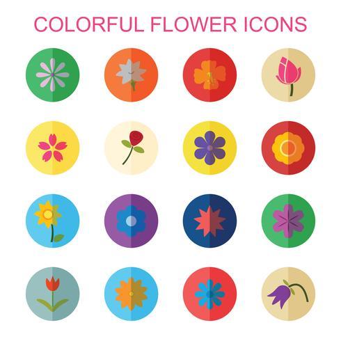 färgglada blomma ikoner med skugga vektor