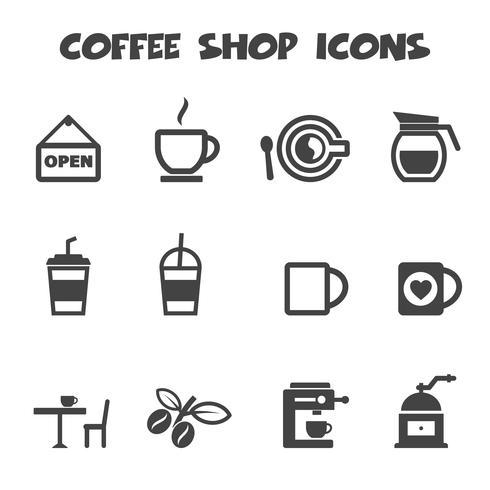 kaffebutik ikoner vektor