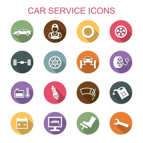 bil service långa skugg ikoner vektor