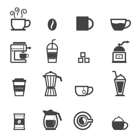 kopp kaffe ikoner vektor