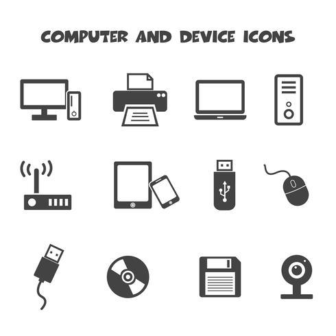 dator- och enhetikoner vektor
