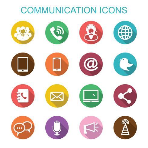 kommunikation lång skugg ikoner vektor