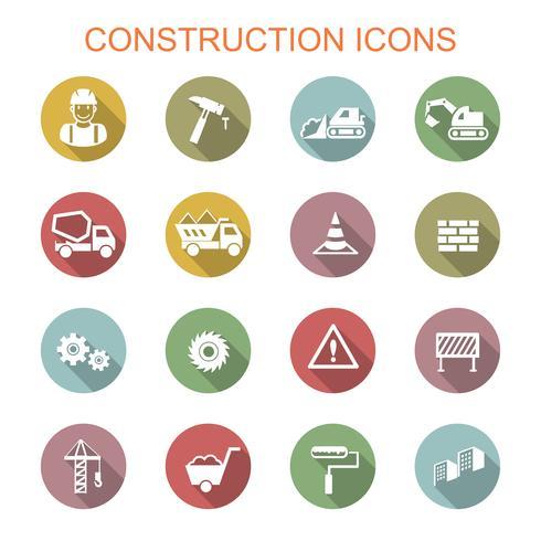 konstruktion långa skugg ikoner vektor