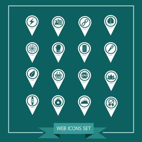 Set av Map Pointer-ikoner för webbplats och kommunikation vektor