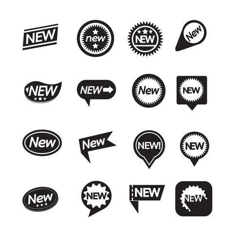Set med etiketter Ny ikon för webbplats och kommunikation vektor