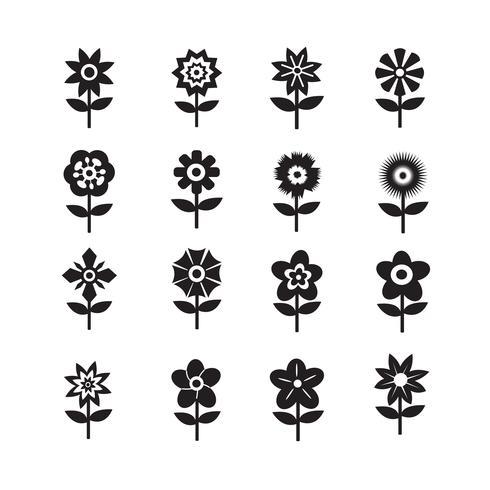 Blumen-Icon-Set für die Website vektor