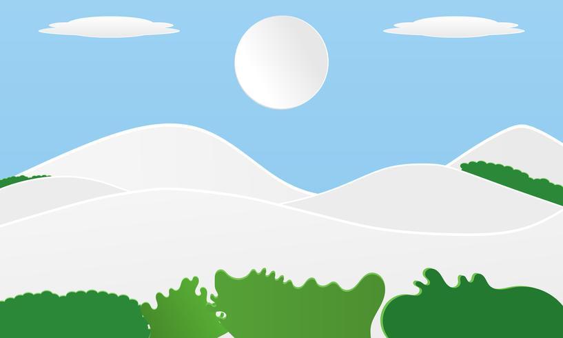 Landschaftsweißes Gebirgsdesign mit Papierschnittwolkenkunstart, auf Pastellfarbhintergrund in der Sommerzeit. Design für Plakatwebsite-Fahnenvektorillustration vektor