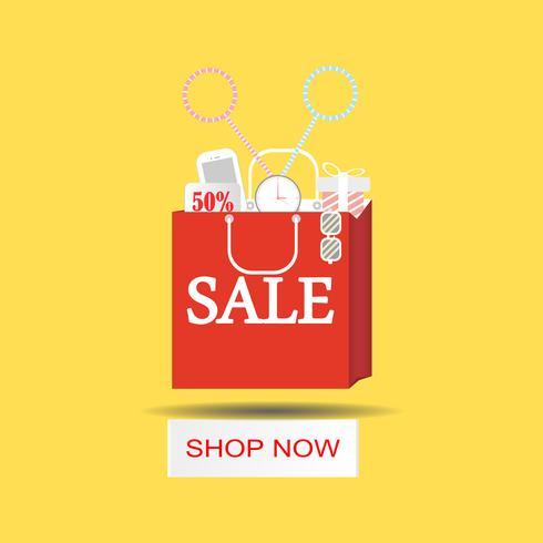 Shoppingväskor pappersskuren färgstarka för affischen. Försäljning och Design lägenhet. Vektor illustration
