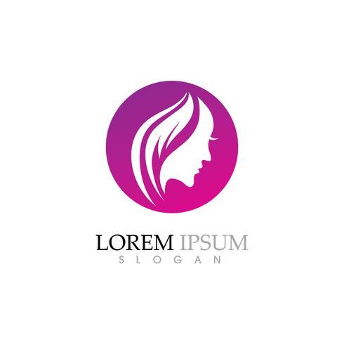 Schönheits-Frauengesichts-Schattenbildcharakter Logo vektor