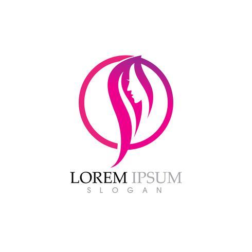 Skönhet Kvinnor står inför silhuett karaktär Logo vektor
