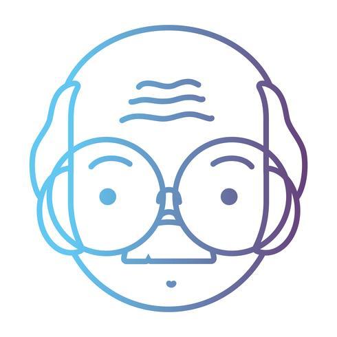 linje avatar gammal man huvud med frisyr design vektor