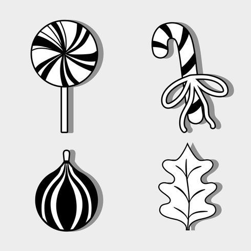 Set Frohe Weihnachten Dekoration Design zum Feiern vektor