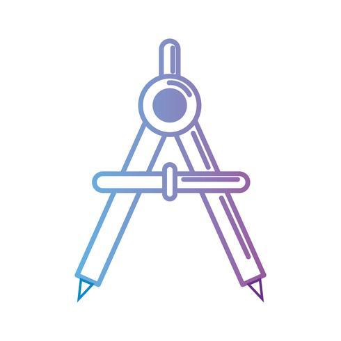 Kontur Kompass Schulwerkzeug zu studieren vektor