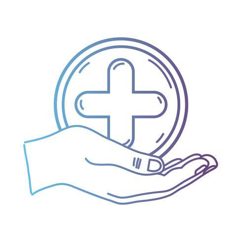 Linie Hand mit Cross-Medizin-Symbol, um den Menschen zu helfen vektor