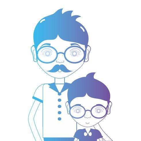 Linie Vater mit seinem Sohn und Brillendesign vektor