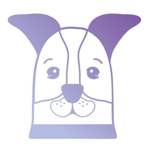 linje söt hund huvudet husdjur vektor