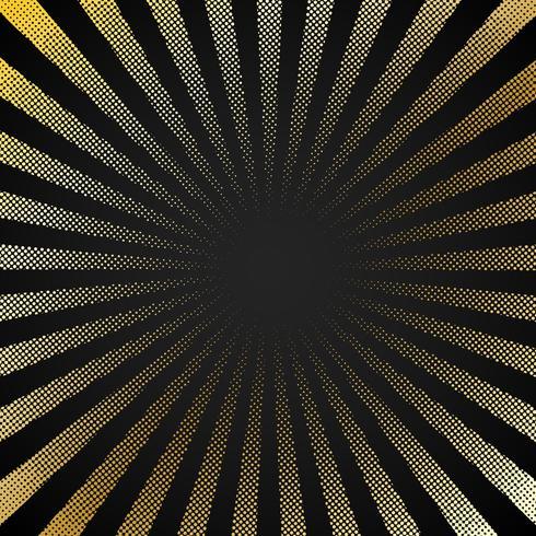 Abstrakt retro glänsande starburst svart bakgrund med guld prickar mönster textur halvtons stil. Tappning strålar bakgrund, bom, komisk. Tecknad popkonstmall. vektor