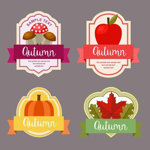 Herbstlaub flache Label mit Natur-Element vektor