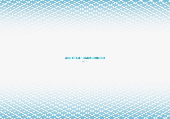 Weißer Hintergrund des blauen quadratischen Musterperspektivenbodens der abstrakten Schablone mit Kopienraum. Geometrische Formen. vektor