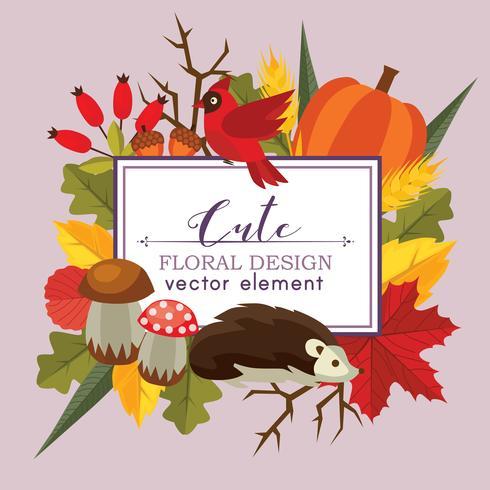 söt blommig design vektor hösten plat stil naturelement
