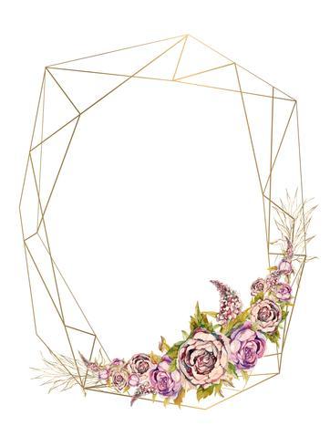 Der Rahmen ist rund. Rosen. Gold. Vektor-illustration Vektor. vektor