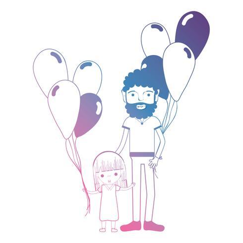 linje pappa och dauther tillsammans med ballonger design vektor