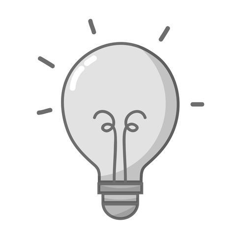 ikon för gråskala-lampa energiobjekt vektor