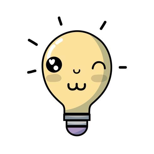 Kawaii söt rolig glödlampa vektor