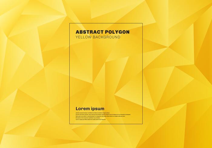 Abstraktes niedriges Polygon- oder Dreieckmuster auf gelbem Senfhintergrund und -beschaffenheit. vektor