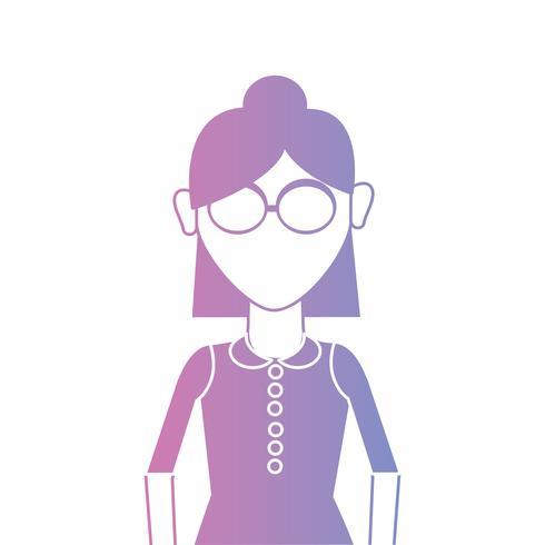 Linie Frau mit Frisur und Blusendesign vektor
