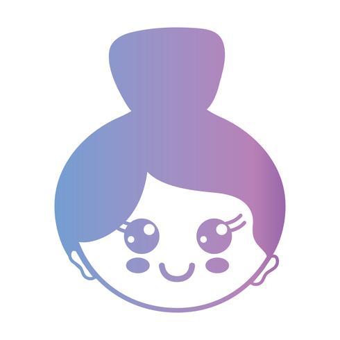 linje avatar kvinna huvud med frisyr design vektor