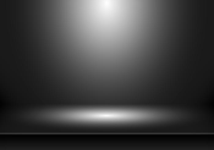 3D tomt studio rum visar monter för designers med spotlight på svart bakgrund. Visa din produkt eller ditt konstverk. vektor