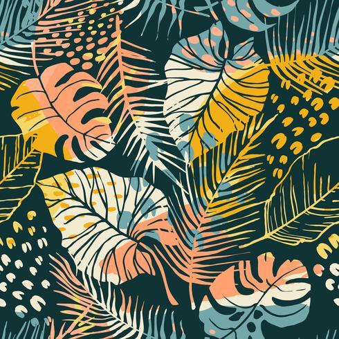 Abstrakt kreativt sömlöst mönster med tropiska växter och konstnärlig bakgrund. vektor