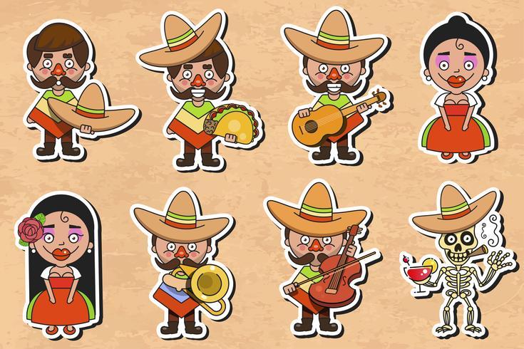 Mexikansk kultur klistermärke vektor på vintage bakgrund