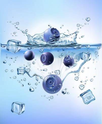 färska grönsaker stänk is i blå klart vatten stänk hälsosam kost diet friskhet koncept isolerad vit bakgrund. Realistisk Vektorillustration. vektor