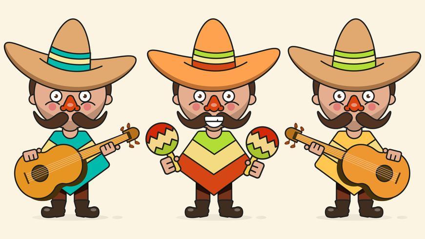 Mexikanische Musiker-Vektor-Illustration mit drei Männern mit Gitarren in der gebürtigen Kleidung und im Sombrero-flachen Vektor