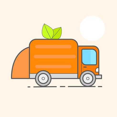 LKW für die Montage, Transport Müll. Auto-Abfallentsorgung. Kann Container, Tasche und Eimer für Müll. Recycling-Fabrik, Nutzungsausrüstung. Vektor