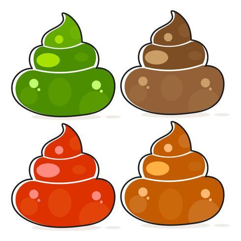 Satz von Cartoon Brown Poop Variationen. vektor