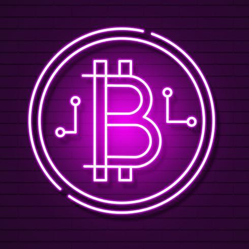 Neon-Bitcoin-Symbol auf schwarzem Background.light-Effekt. Digitales Geld, Bergbautechnik-Konzept. Vektor Icon.