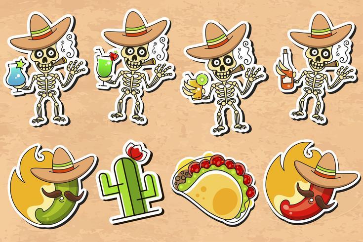 Mexikanischer Kultur-Aufkleber-Vektor auf Weinlese-Hintergrund vektor