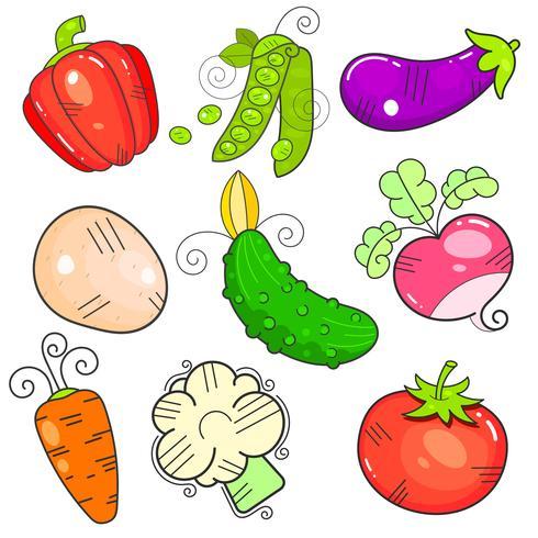 Art grönsaker. egenskapen FlatStyle. Kraften vektor
