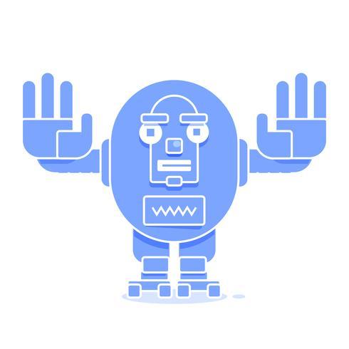 Bot-Symbol. Chatbot Icon Konzept. Netter lächelnder Roboter. Vektor-moderne Linie Charakter-Illustration lokalisiert auf weißem Hintergrund. Umriss Robot Sign Design. vektor