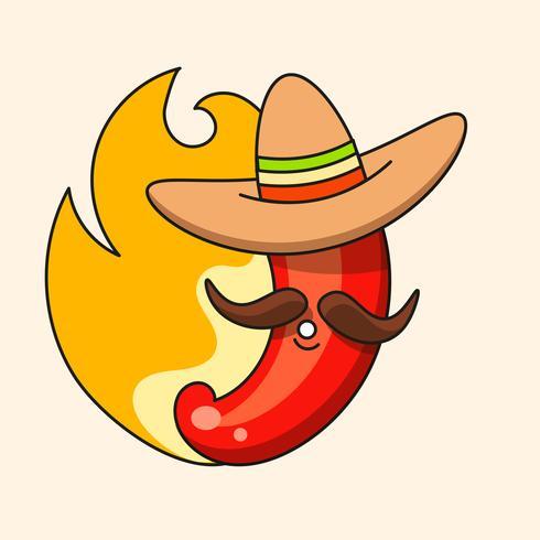 Retro Hot Mexican Icon. Snabbmat. Vektor bakgrund. Organiska Ingredienser. Mexikansk Taco Mat. Färgglada vektor illustration.