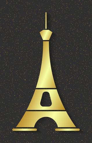 Golden Eiffeltornet. Designelement för kartor, banners, flygblad, Paris Lettering Isolated On Dark Background. vektor