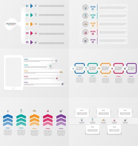 Satz von Infografiken Elementvorlage mit Optionen. vektor