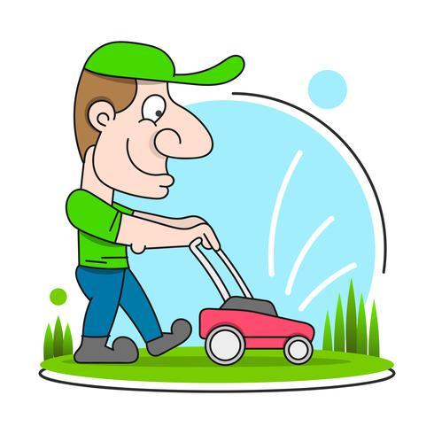 Illustration av en trädgårdsmästare som bär hatt och overaller med gräsklippare klippa gräsmatta sett från fronten på isolerad vektor